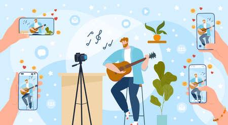 Play guitar online vector illustration, cartoon flat streamer vlogger, musician guitarist character playing guitar online