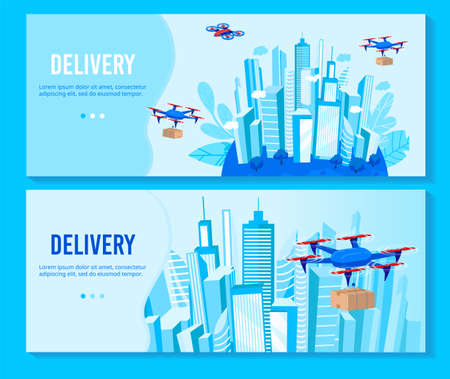 Drone delivery vector illustration set, cartoon flat delivering service banners with drone transportation, quadcopter transports