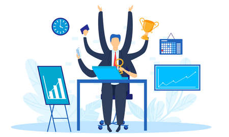 Business work multi task concept vector illustration, cartoon businessman character with multitasking and multi skill working Vectores