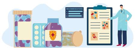 Vitamin recommendation vector illustration, cartoon flat doctor pharmacist character recommending vitamin supplement tablet pills Çizim