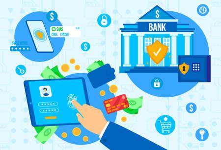 Bank payment security vector illustration, cartoon flat businessman hand doing identification on fingerprint scanner background Çizim