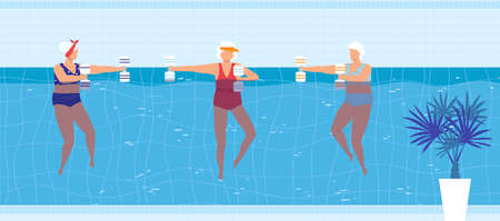Sport swim activity in pool vector illustration, cartoon flat elderly woman swimmer character group doing exercise with dumbbells