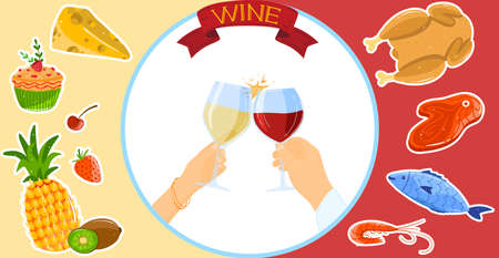Cheers wine tasting vector illustration, cartoon flat wine alcohol drink concept with human winelover hands holding wineglasses