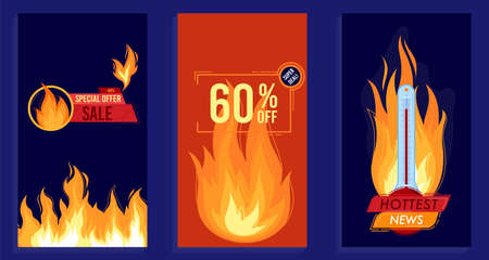 Fire flame hot summer sale vector illustration, cartoon flat flaming design promotion template collection of vertical banners