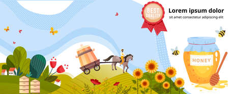 Honey production agriculture vector illustration, cartoon flat village farmland landscape with beekeeping agricultural farm