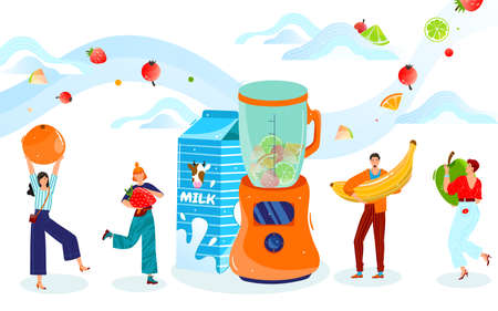 Eat healthy food vector illustration, cartoon flat tiny happy people holding fresh berry and fruit, cooking milkshake or smoothie