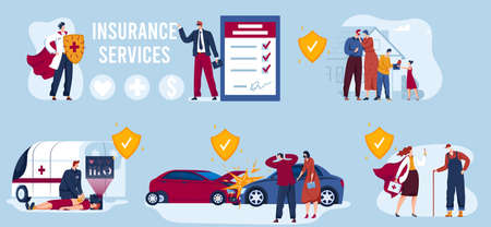 Insurance service vector illustration, cartoon flat insurance protection collection of assurance protect in case of accidents Çizim
