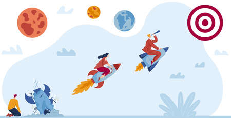 Business startup vector illustration, cartoon flat leader businessman character flying on rocket spaceship, leads team to target