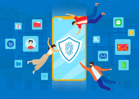 Mobile security vector illustration, cartoon flat tiny people with smartphone and personal data secure symbol on phone screen Çizim