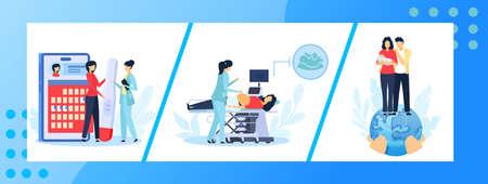Pregnancy medicine vector illustration set, cartoon flat pregnant woman patient, doctor medical appointment healthcare collection Çizim