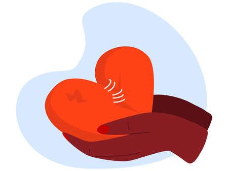 Love care yourself vector illustration, cartoon people volunteer hands hold damaged broken red heart, give loving symbol, support