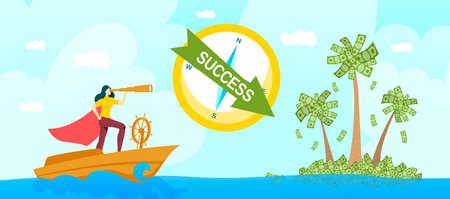 Business success start up concept vector illustration, cartoon flat businesswoman with telescope spyglass look forward concept