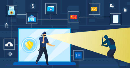 Data protection vector illustration, cartoon flat security guard protecting, looking for cyber thief of personal information