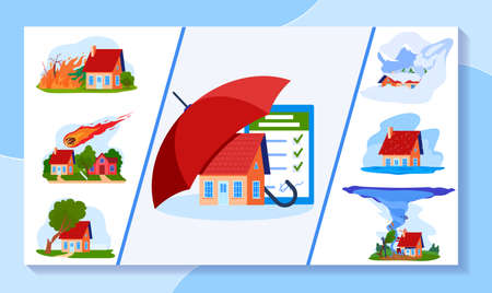 Insurance vector illustration, cartoon flat umbrella protecting real estate household building against natural disaster damage
