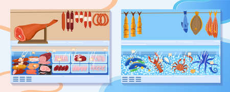 Meat food market stall vector illustration, cartoon shopwindow with seafood and butcher meat products, fresh frozen smoked fish 向量圖像
