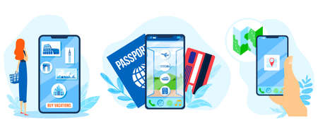 Travel app vector illustration set, cartoon flat traveler woman character buys sightseeing and flight ticket, pay for journey