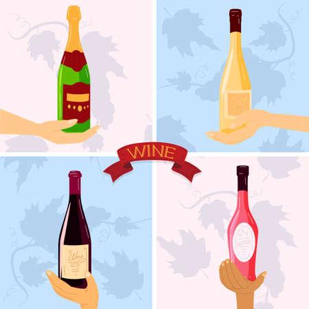 Wine glass bottle vector illustrations, cartoon flat human winelover hands holding bottled alcohol wine drink beverage background Çizim
