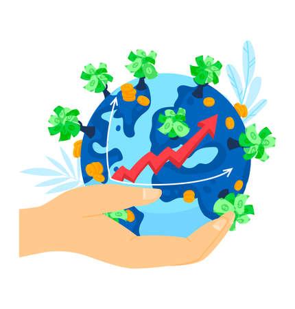 Financial business growth, economic finance arrow illustration. Success economy graph, money investment progress at planet.