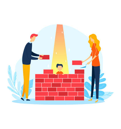 Childhood lifestyle in stone wall, family problem illustration. Protective parenthood, man woman character build construction