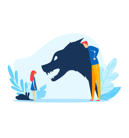 Child parent relationship, angry father shadow abuse young kid illustration. Family problem, fight stress between sad girl