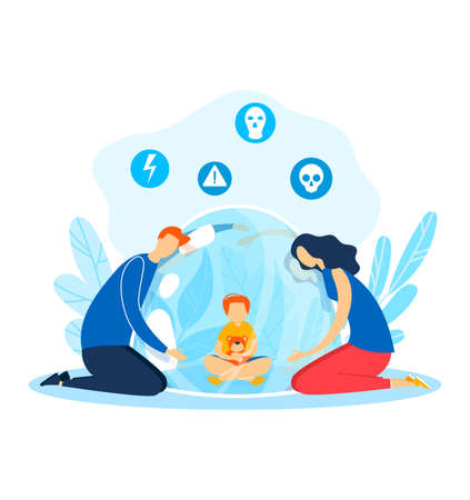 Problem with kid, flat family people around isolated child character illustration. Cartoon girl close up from parent
