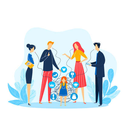 Child person problem, man woman character around kid, vector illustration. Flat family people talking above sad stressed girl.
