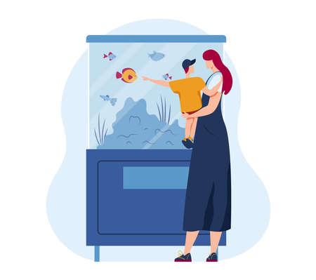 Family pet in cartoon aquarium illustration. Sea animal in water, aquatic goldfish and tropical ocean fish underwater background.