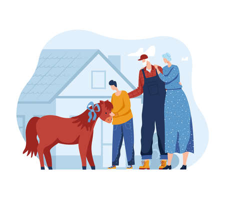 Horse pony for people, child and family illustration. Childhood with animal love, mother father, small son happy outdoors. Çizim