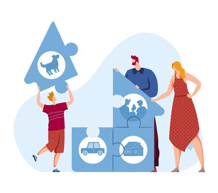 Family people puzzle concept illustration. Happy communication with love, man woman child character together.