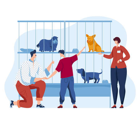 Animal dog shelter illustration. Woman man people character and cartoon pet, homeless puppy in cage look at family. Çizim