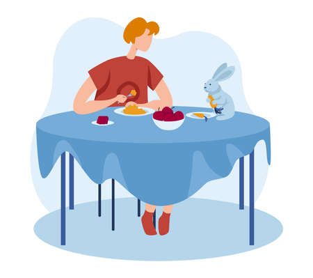 Rabbit pet at people girl home illustration. Young woman character have dinner, cute animal at table. Happy house lifestyle design