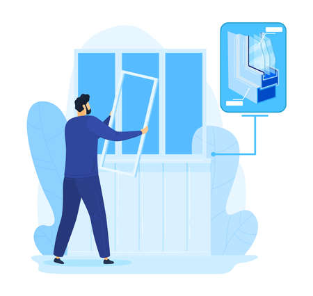 Home repair, man fix window construction illustration. Handyman worker in house, glass work service by person builder.
