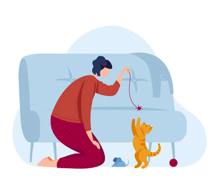 Girl play with kitten, love cat pet at cartoon home illustration. Happy cute domestic animal and young person character friendship