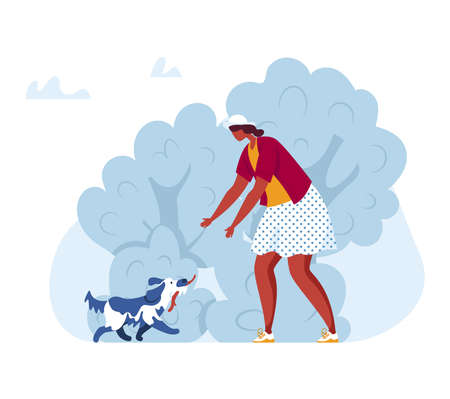Woman walk with dog in park illustration. Person people, happy pet at nature, young cartoon character together outdoor. Çizim