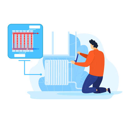 Radiator in house, home repair by professional handyman illustration. Man worker service at construction, cartoon worker with tool.