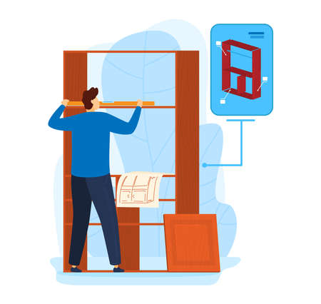 Furniture shelf repair, worker man build wooden construction illustration. Male repairman do renovation with carpenter tool. Çizim