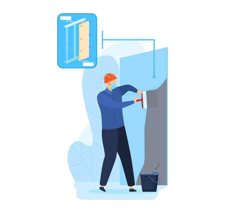 Construction renovation worker at repair illustration. Man builder character plastering wall by cement, trowel tool. Çizim
