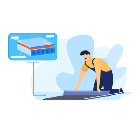 Man work with floor, cement construction tool illustration. Worker at home, professional renovation with mortar, trowel.