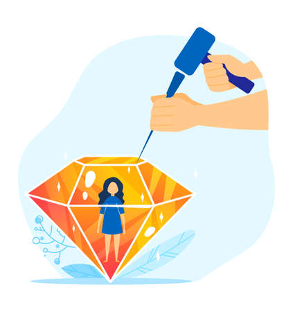 Child person diamond, parents care about kid illustration. Family people new born kid. Creating a child world