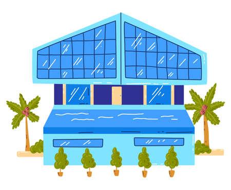 Tropical beach house, active, hot summer vacation, seaside hut, design cartoon style illustration, isolated on white. Çizim