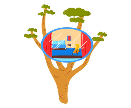 Small beach house on tree, paradise for relaxation, pleasure summer vacation, cartoon style illustration, isolated on white