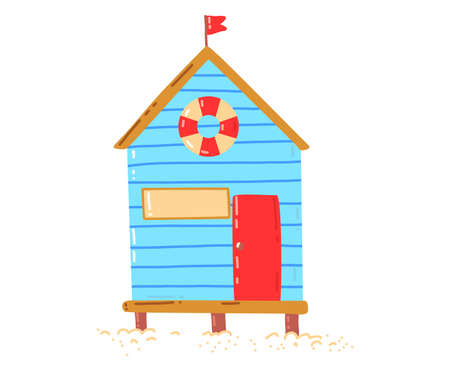 Tropical beach house, active, hot summer vacation, seaside hut, design cartoon style illustration, isolated on white.