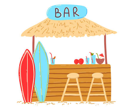 Wooden beach holiday home, lettering bar on bungalow, cocktails refreshing drinks, cartoon illustration, isolated on white.