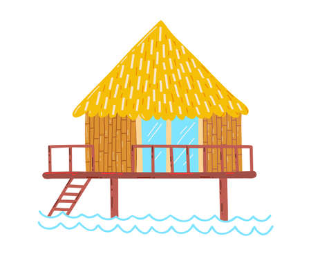 Wooden beach holiday home, summer vacation by sea, travel in tropics, design cartoon style illustration, isolated on white.