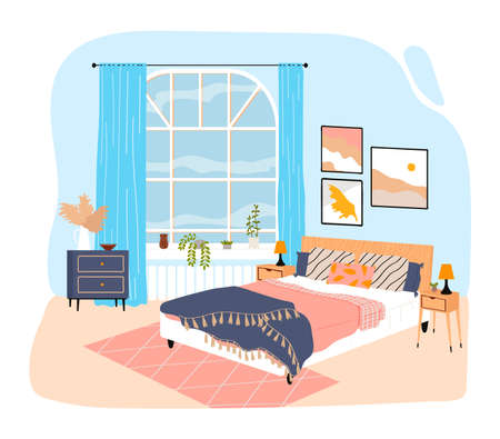 Interior room in house, bedroom with large bed, blanket and pillows, design cartoon style illustration, isolated on white. Çizim