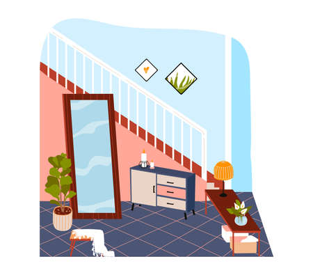 interior room in house, modern apartment with staircase and large mirror, design cartoon illustration, isolated on white.