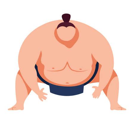 Martial art, traditional japanese art sumo sport, heavy, fat man design cartoon style illustration, isolated on white.