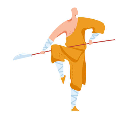 Martial art, attacking pose, traditional Japanese fighter, oriental sport, style cartoon illustration, isolated on white.