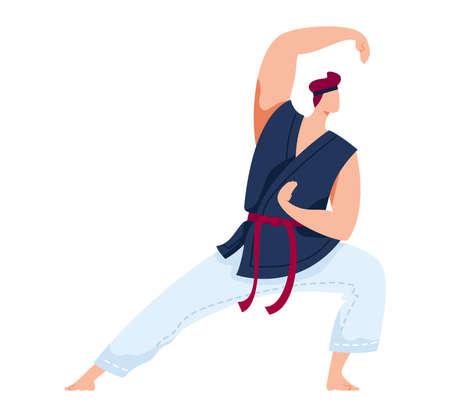 Martial art, japanese sport, aggressive wrestling, training exercise, design cartoon style illustration, isolated on white.