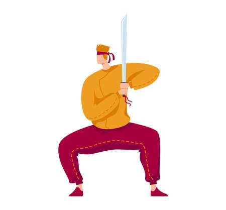 Martial art, samurai professional fighter, katana combat, traditional weapon, cartoon style illustration, isolated on white Çizim